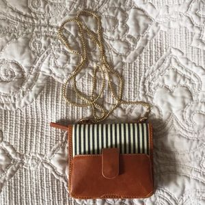 Navy and white stripe leather purse/wallet
